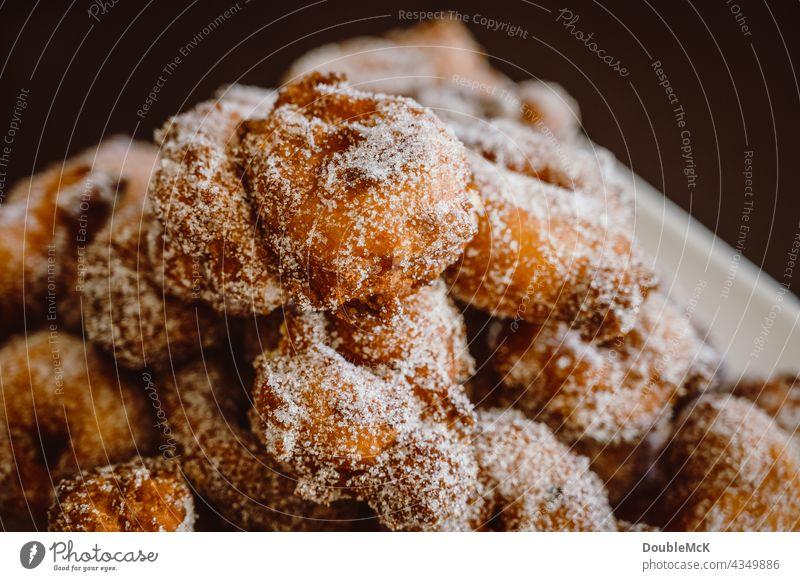 Pancakes | Quarkbällchen | Prilleken | Krapfen | Carnival pastries stacked on a plate Quarkballs Donut Mardi Gras Cookies cute Delicious Food Dessert Nutrition