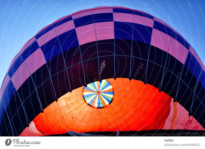 Interior view of an inflated hot air balloon with blue outer envelope Ballooning Flying hot-air balloon Basket Summer travel Adventure aerial photograph