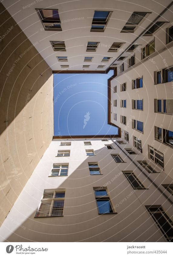 sun court 1 star Cloudless sky Summer Beautiful weather Downtown Berlin Town house (City: Block of flats) Facade Window Fire wall Backyard Large Long Gloomy