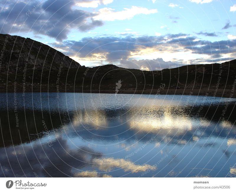 Calm Clouds Relaxation Mountain Lake Horizon Mirror Hill Peak Dusk Glacier Dolomites Mountain lake