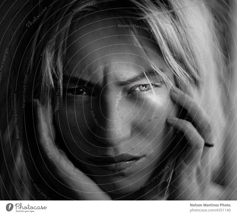Black and white portrait of a beautiful woman with a reflection in her eye Black & white photo Caucasian Lifestyle Eyes Reflection Beautiful serious confident