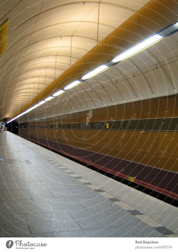 subway Underground Tunnel Artificial light Platform Subsoil Prague Transport Station Placed