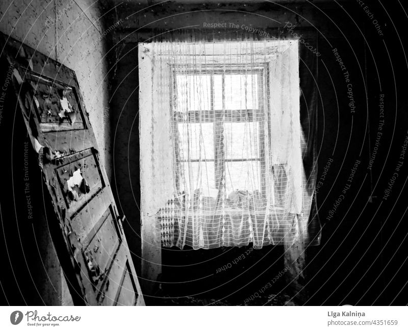 Black and white photo of window and door Window Abandoned Old old wall Architecture Deserted Black & white photo Door run down Facade Run-down Decline