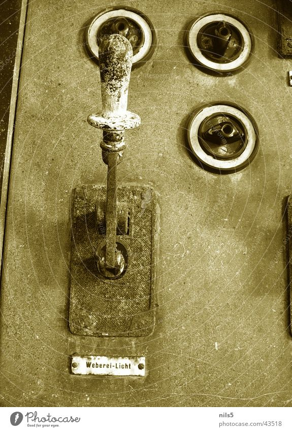 Old, rusty switch Nostalgia Retro Lever Switch Buttons Weaving Historic Sepia Rust
