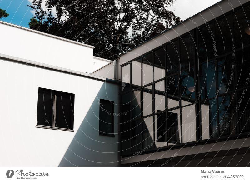 Bauhaus Architecture Facade Modern Gropiusstadt Structures and shapes bauhaus settlement Meisterhäuser reflection Glass Exterior shot Window Reflection