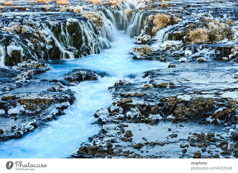 Bruarfoss waterfall in winter, South Iceland Landscape Long exposure Nature Adventure well-known places Blue impressive Lonely freezing cold experience Europe
