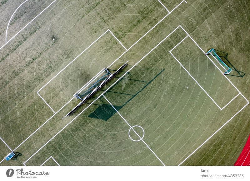 Sports field from above Sporting grounds gates Ball sports Playing field Line Deserted Lawn Football pitch Green Foot ball Sporting Complex Leisure and hobbies