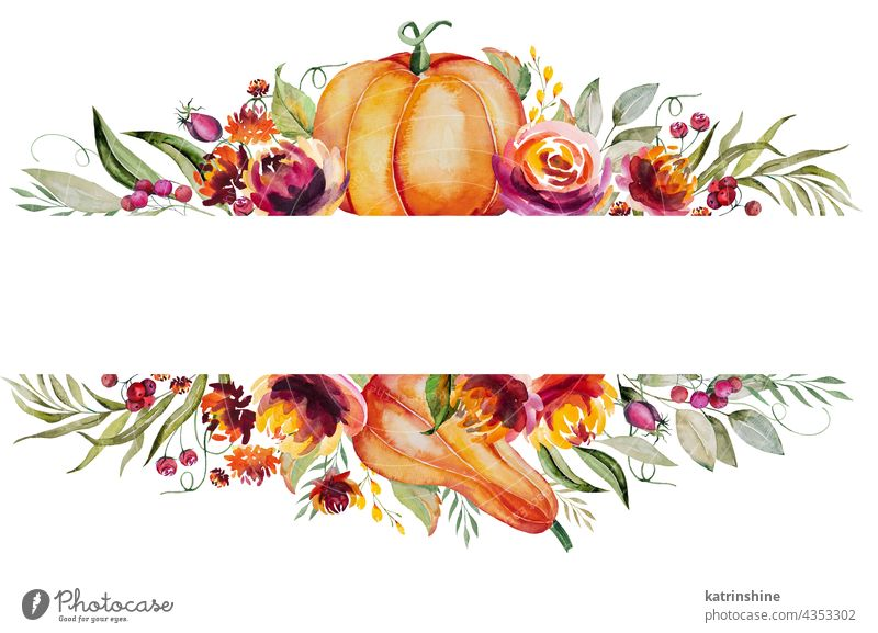 Watercolor autumn frame made of pumpkin, berries, flowers and leaves Autumnal Colorful Decoration Foliage Garden Holiday Isolated Nature October Plant Season