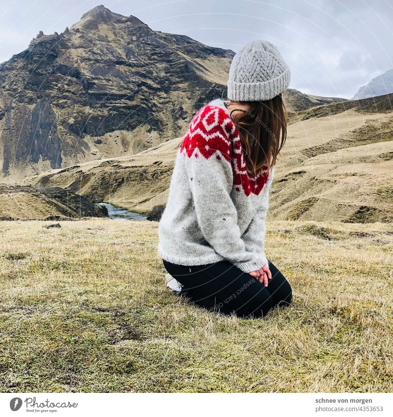 looked away Iceland Nature Green Sweater Freedom wide mountains Green space Hills and water Mountain Sky Clouds Environment Exterior shot Colour photo Deserted