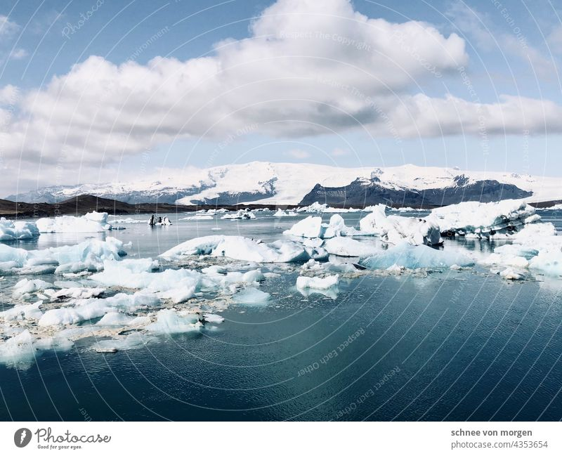ice wide Iceland iced lump Wide angle Water Glacier Frost Exterior shot Blue Snow Iceberg Cold Nature Landscape Deserted Jökulsárlon Lagoon Lake Environment