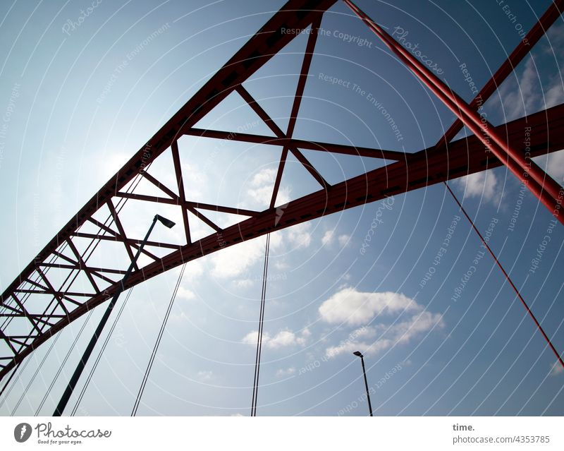 Bridge of Solidarity, Duisburg bridge arch Metal Sky Red structure Protection Safety Steel Monument memorial Historic lamps street lamps Clouds Tall convex