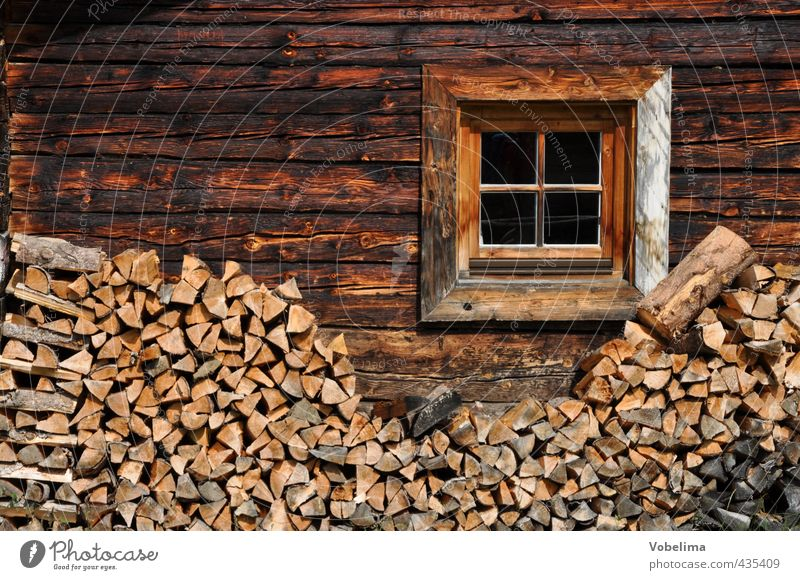 Window on an old farmhouse in the Alps House (Residential Structure) Hut Facade Wood Old Retro Brown Alpine hut Alpine pasture Wooden house Rustic Rural
