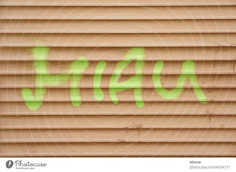 MIAU someone sprayed in light green on a beige garage door / graffito Meow Rolling door Garage Roller garage door Graffito Graffiti Bright green Daub Art