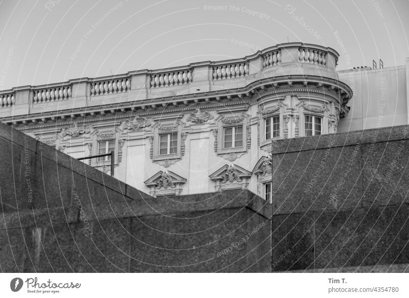 """a piece of """"Stadtschloß"""" Berlin Middle Lock city palace b/w Bridge bnw Exterior shot Architecture Town Downtown Capital city Deserted Manmade structures"""