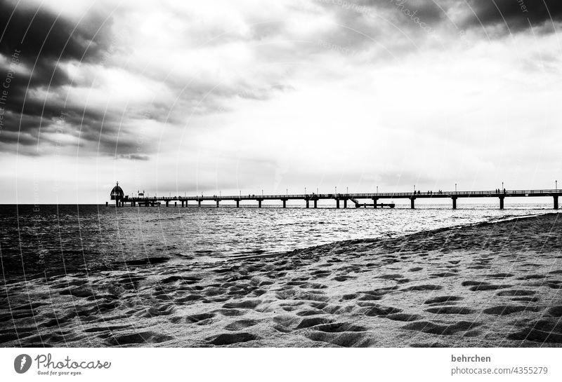 Far beyond Dramatic Usedom Black & white photo Freedom wide Wanderlust Longing Idyll Water Waves Nature Clouds Sky Baltic Sea Ocean Beach Landscape coast