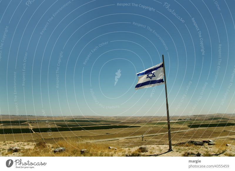 Israel - National - Flag - Flag flag Patriotism Ensign Blow Sky Flagpole Deserted Wind Judder Politics and state Sign Nationalities and ethnicity flagpole