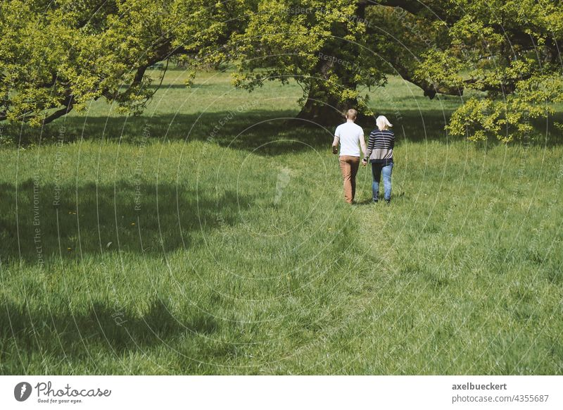 young couple holding hands while walking in nature Couple hold hands Together Love Relationship romantic Lifestyle Nature Romance Summer Park Meadow