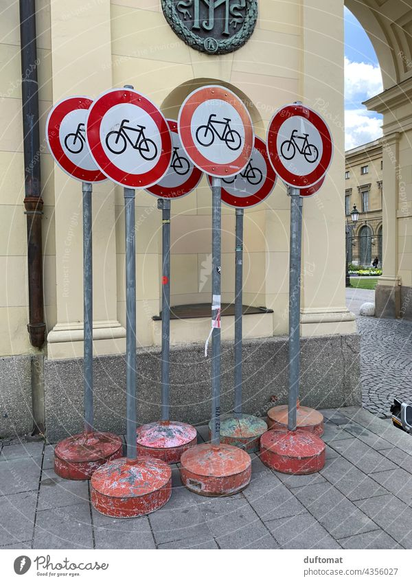 Bicycle Prohibition Road Signs Transport Road sign Means of transport Cycling Cycling tour Cycle path Wheel cyclists cycle path Bans Prohibition sign
