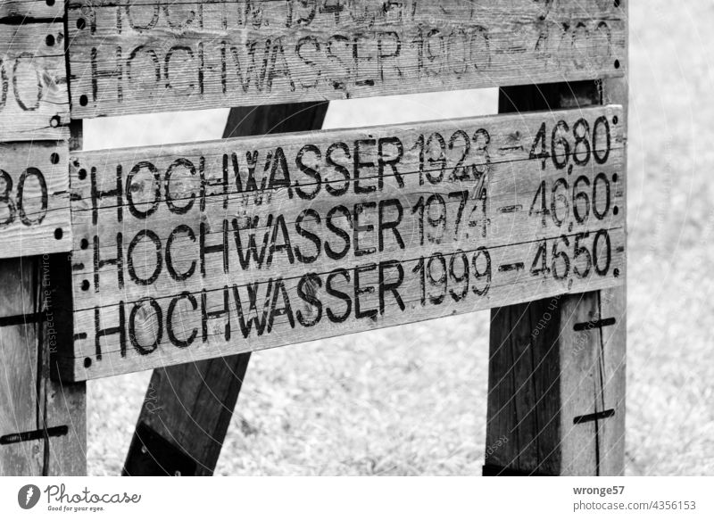 Historical high water marks of the Elbe at a wooden tower near Magdeburg Flood Flood markings High-water marks Water levels Deluge River Exterior shot