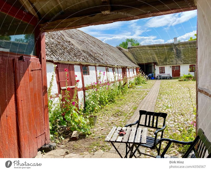 Old farmhouse on the Danish island of Endelave House (Residential Structure) Exterior shot Farm Deserted Building Reet roof Thatched roof house Courtyard