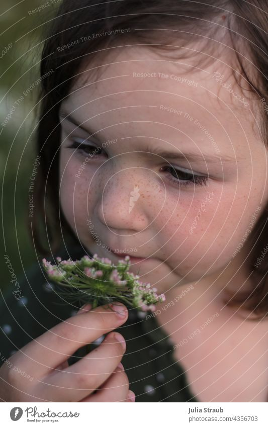 Girl with freckles smells a flower Flower Wild carrot blossom Freckles Green green eyes cute Cute Summer Summery Summer mood pretty hold hands Blossom sniff