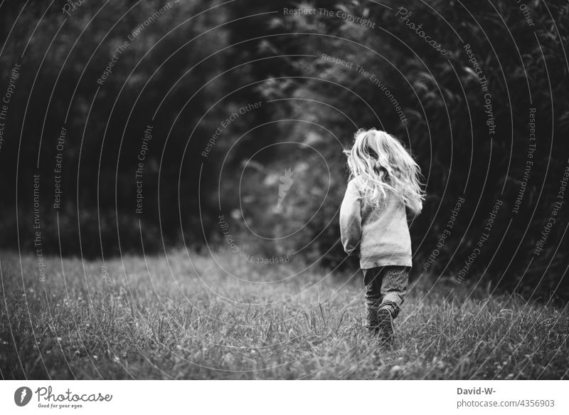 Childhood - little girl happily running across a meadow Infancy Girl out Playing cheerful contented fun Nature Lovely Cute Blonde Childhood memory pretty Joy
