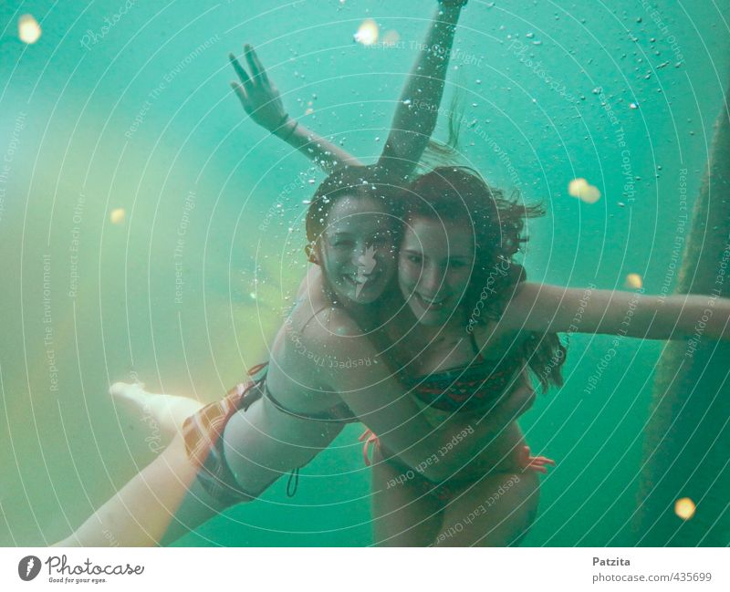 underwater world Dive Underwater photo Girl Sunbeam Water Deep Ocean Lake Joy Laughter Swimming & Bathing Float in the water Nixie (Water Spirit) water rats