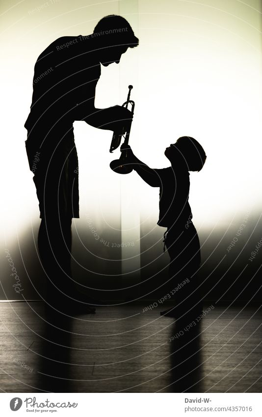 Father and child - Child rearing - Welfare dad Son Considerate Parenting Music tool Study Indicate Together Parents in common Love Shadow Shadow play