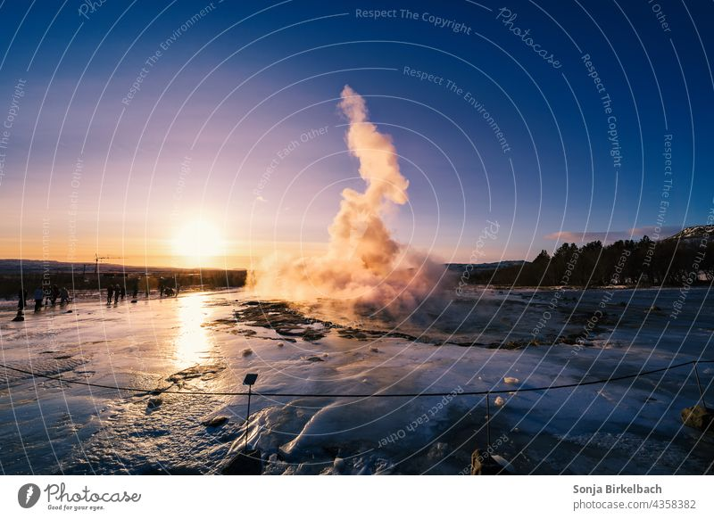 Geysir Strokkur shortly before the eruption in the backlight of the morning sun, Iceland in winter Geyser Icelandic Golden Circle Winter Landscape Attraction
