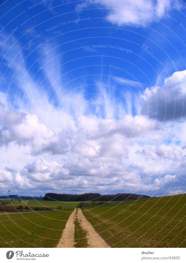 Nature Sky Blue Clouds Freedom Lanes & trails Landscape