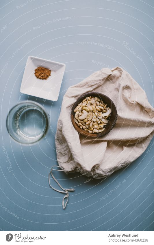 ingredients for cashew milk blogger blue cashews coffee cook cooking creamer eat food health healthy home homemade kitchen nut bag nut milk nuts organic plant