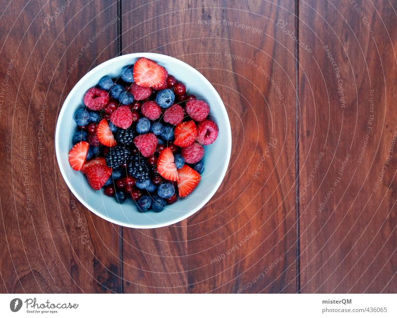 Healthy Eating Art Fruit Contentment Esthetic Bowl Strawberry Vegetarian diet Wooden table Raspberry Cereal Vitamin-rich Blueberry Redcurrant Blackberry