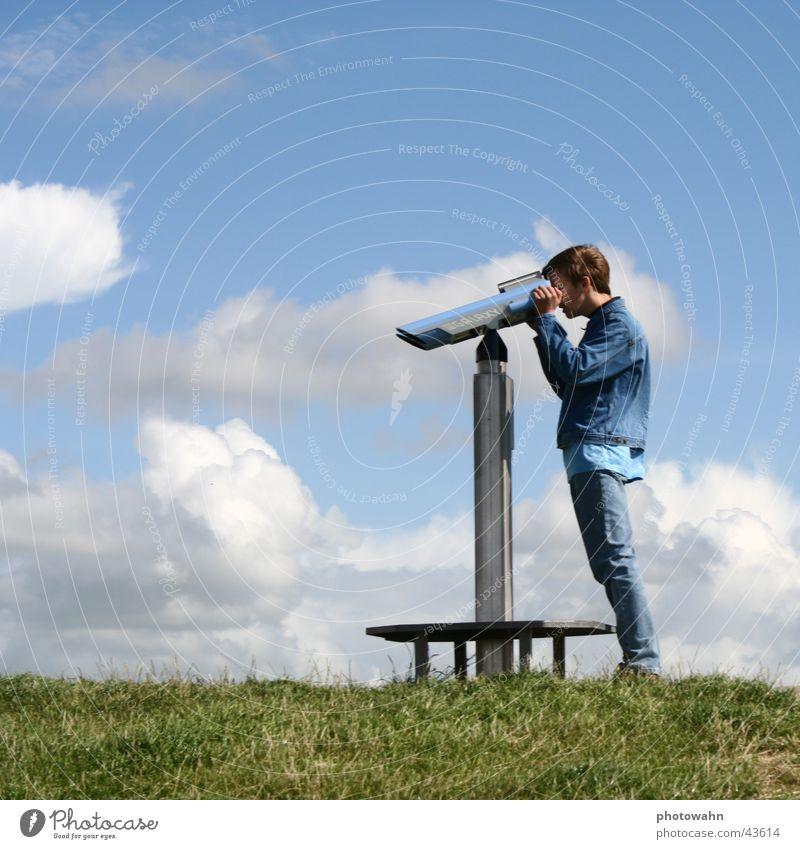 Sky Man Blue Far-off places Meadow Binoculars Dike