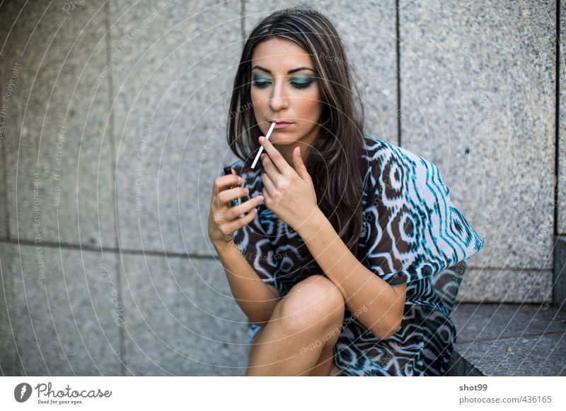 Woman in beach dress sitting on stair smoking stage stairs concrete Style Fashion Beach pattern Beautiful Make-up min body brave Culture Quality