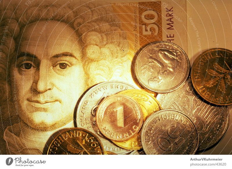 Good old Deutschmark Economy Financial Industry Masculine Man Adults Head Hair and hairstyles 1 Human being Painting and drawing (object) Money Illuminate Old