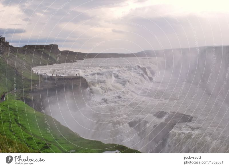Waterfall of the river Hvítá Nature Iceland Landscape Elements Environment Gullfoss Panorama (View) Force of nature Stream Canyon cascade Clouds Sky Flow