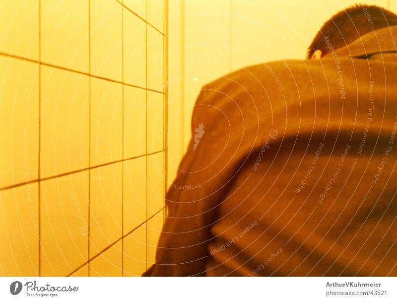 Man Colour Yellow Adults Orange Brown Back Sit Gloomy Bathroom Near Toilet Tile Trashy Whimsical Make