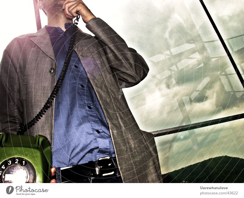 Man To talk Style Window Telephone Suit Handrail To call someone (telephone) Belt Stubble