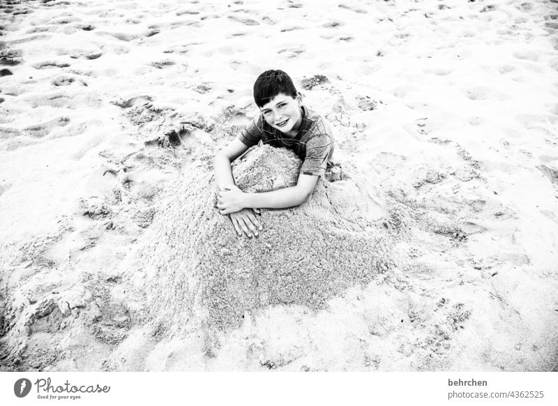 buried omitted Exuberance talk rubbish Wild Joy Family & Relations Contentment Happy fortunate Playing Romp Child Infancy beach sand Sandy beach Relaxation