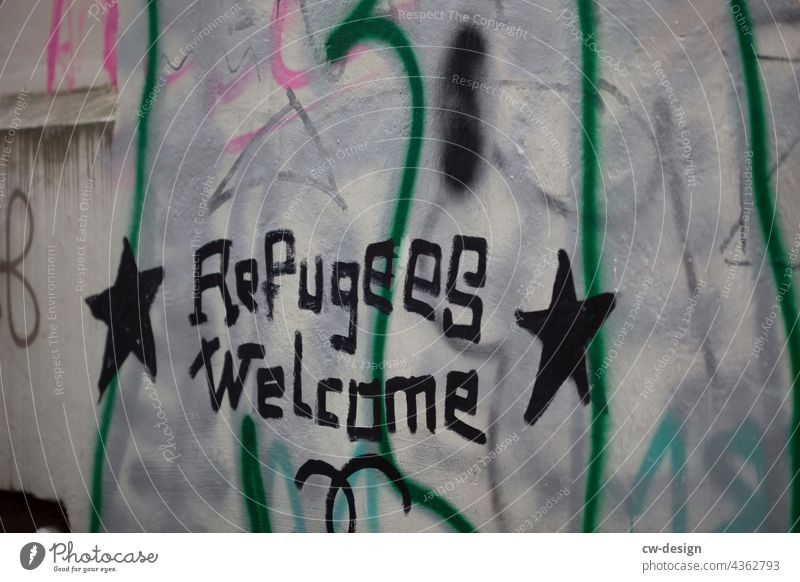 Refugees Welcome - drawn & painted refugee refugees refugees welcome welcome culture Characters Colour photo Political movements political expression