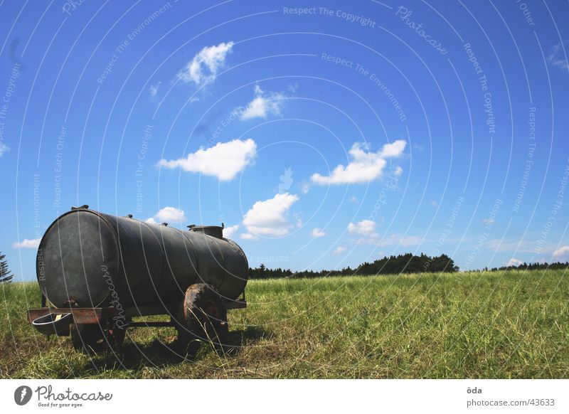 Trailer with view Clouds Grass Meadow Green Loneliness Followers Railroad car Water Watering Hole Sky Blue Vantage point Landscape