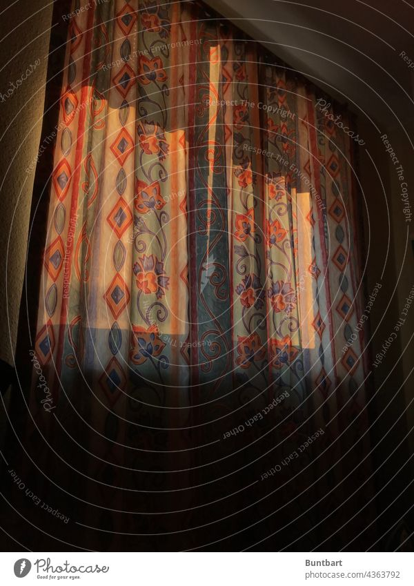 In the morning behind the curtain Curtain Window Drape Cloth Living or residing Light Flat (apartment) Interior shot Decoration Deserted Interior design