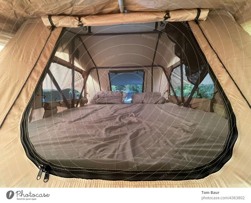 View into a roof tent... Tent Camping Light Vacation & Travel Hiking Adventure Exterior shot Landscape Tourism Mountain Green Trip Summer Camping site