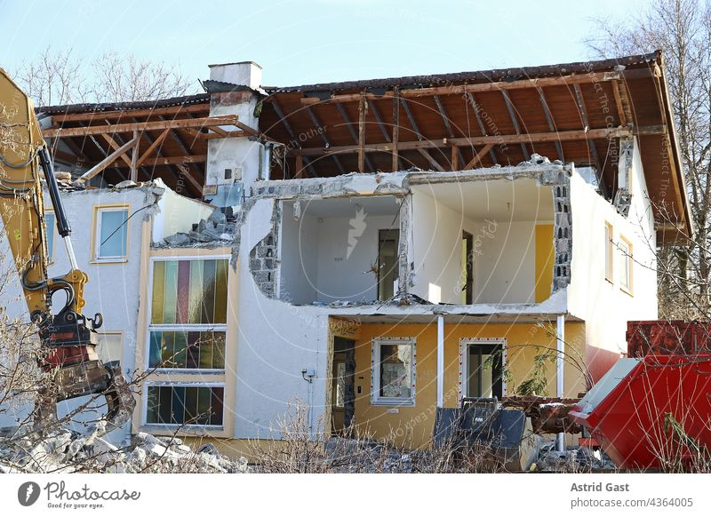 Demolition of a damaged house in Germany House (Residential Structure) Manmade structures corrupted outline Water damage Flood Collapse in danger of collapsing