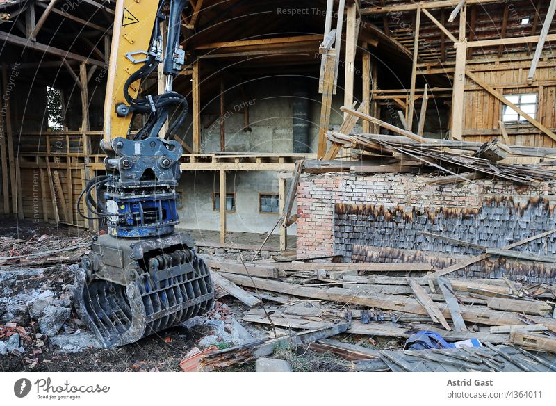Demolition of a damaged old house in Germany House (Residential Structure) Manmade structures corrupted outline Water damage Flood Collapse