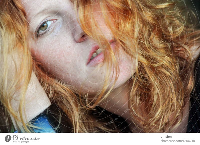 Beautiful sensual portrait in closeup of a thoughtful young redhead wistful Woman Curly Hair Redhead Freckles Auburn Portrait Looking At Camera Girl Women