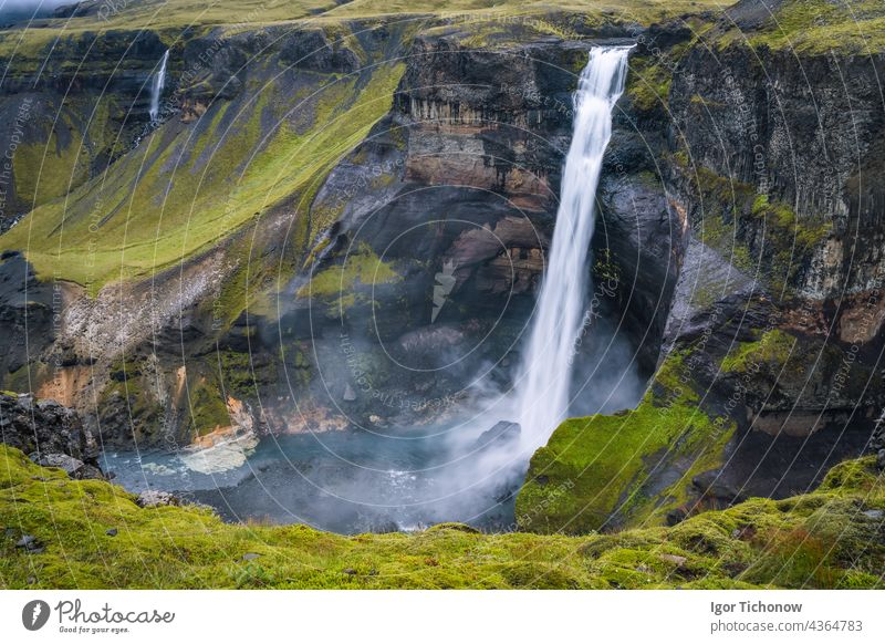 Shark foss waterfall in Iceland - one of the highest waterfalls in Iceland, popular tourist destination Waterfall haifoss travel Nature Beauty & Beauty Canyon