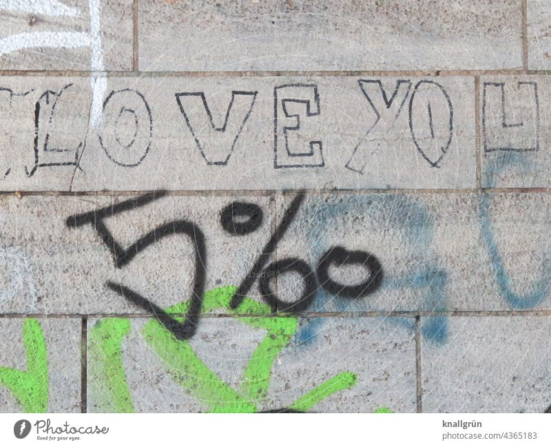 Love you 5 ‰ Graffiti Humor Wall (building) Wall (barrier) Facade Emotions wittily per mil Characters Exterior shot Colour photo Deserted Town Communicate Day