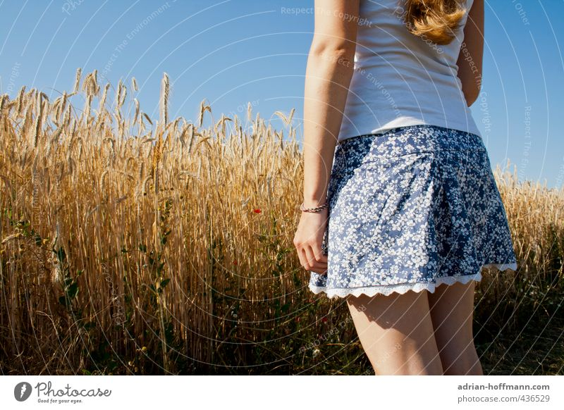 summer skirt Human being Feminine Young woman Youth (Young adults) Woman Adults 1 18 - 30 years Nature Landscape Sky Cloudless sky Summer Beautiful weather
