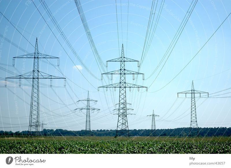 mast landscape Electricity Electricity pylon Green Meadow Blue Sky